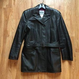Vintage Versace Black Italian Leather Jacket S (M)